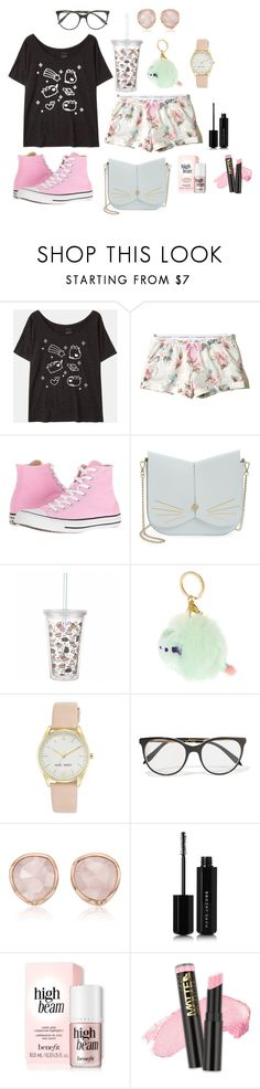 """""""(Pusheen fashion series) Pastel Pusheen"""" by mckn on Polyvore featuring Pusheen, Hollister Co., Converse, Ted Baker, Nine West, Victoria Beckham, Monica Vinader, Marc Jacobs and L.A. Girl"""