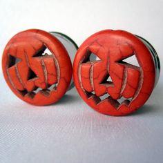 Pair of Orange Jack-O-Lantern Halloween Plugs  Handmade Tunnels and Gauges by WhimsyByKrista