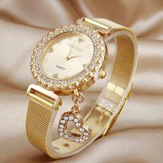 KIMSENG Luxury Created Diamond Gold Watches Ladies Fashion Heart Pendant Stainless Steel Quartz Watch Reloj Mujer Dorado Casual