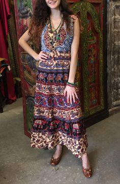 958e3a91b01 Women Bohemian Sundress Sleeveless Bonita Cotton Evening Dresses S M (Blue)