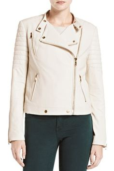 """""""Fall Essentials"""" aka this heavenly creme colored leather moto by J Brand. please get in my closet, now. x"""