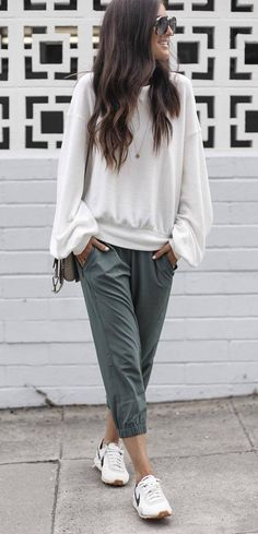 casual style perfection white top pants loafers