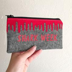Your place to buy and sell all things handmade Raw Edge Applique, Hot Butter, Shark Week, Sharks, Zipper Pouch, Beauty Products, Blood, Great Gifts, Coin Purse
