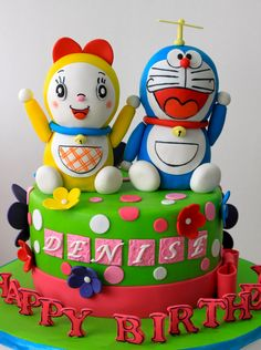 Celebrate with Cake!: Doraemon and Dorami Cake Doraemon Cake, Galaxy Cake, Anime Fnaf, Cute Cakes, Buttercream Frosting, Themed Cakes, Cake Cookies, Amazing Cakes, Cake Recipes