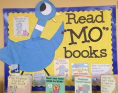 Cute way spotlight Mo Willems Elephant and Piggies books.and Mo! School Library Displays, Elementary School Library, Classroom Displays, School Libraries, Classroom Decor, Classroom Board, Library Lessons, Library Ideas, Library Themes