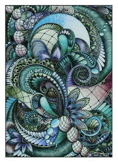 Zentangle/ doodle art drawn with colorpencils and fineliners image 5 Doodle Zen, Doodle Art Drawing, Zentangle Drawings, Doodles Zentangles, Doodle Patterns, Zentangle Patterns, Art Patterns, Pattern Art, Tangle Art