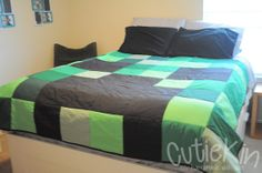 Minecraft Creeper Quilt Custom All Bed Sizes Available by CutieKin, $45.00