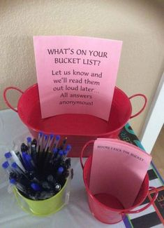 Was inspired to create the Bucket List game for my Dad's birthday party after seeing so many fun ideas for decorations. Pretty self-explanatory. 50th Birthday Party Ideas For Men, Moms 50th Birthday, 70th Birthday Parties, Adult Birthday Party, 50th Party, Birthday Games, Birthday Celebration, Party Party, 50th Birthday Decorations