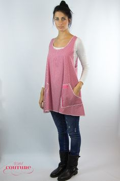 Weiteres - Kleid Schürze Alma Karo weiß rot - ein Designerstück von Kittelcouture bei DaWanda