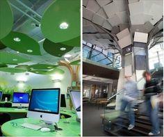 """Twee verschillende uitvoeringen waarin """"akoestische bomen"""" zijn verwerkt in plafond- en wandpanelen voor een optimale akoestiek in de ruimte. Daarnaast wil het oog natuurlijk ook wel wat! Dit resulteerde in deze twee prachtige uitvoeringen. Welke vindt u mooier? De Ecophon Solo Freedom (links) or Ecophon Solo Square (rechts)?"""