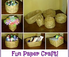 Make baskets from paper. Use colors or newspapers for a different look.