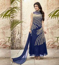 Stunning Blue color designer party wear suit.  #Rakhisuit #rakhisale #rakhionlinesale #onlineshopping  Suit Length : 42