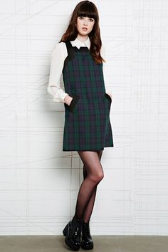 Cooperative Pinafore Dress in Tartan at Urban Outfitters