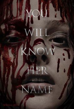 """And this is the poster from the remake of """"Carrie"""", with Agnew Moretz. The original book, released in 1974, was the first published novel by Stephen King and tells the story of a teenage girl with telepathic powers, daughter of a very religious mother... Who saw The movie with Sissy Spacek? I did!  see more in here: https://www.facebook.com/blackninestudio"""