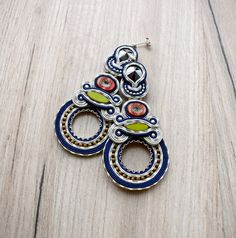 Extra long soutache handmade earrings. by Soutachebypanka on Etsy