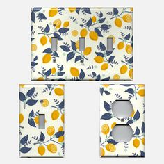 Lemons with Navy Leaves Light Switch Plates and Wall Outlet Covers Kitchen Decor