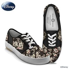 "Disney ""Caught In The Moment"" Mickey And Minnie Canvas Shoes Disney Caught In The Moment Women's Shoes  Canvas sneakers boast photo booth artwork of Mickey Mouse and Minnie Mouse by artist Trevor Carlton. Replica signatures, Mickey Mouse charm, and more.  Available in women's sizes 5 to 10 (includes half sizes); standard medium width  Price:     $69.95"