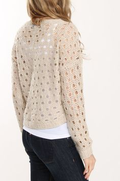 Open Knit Cable Sweater In Oatmeal
