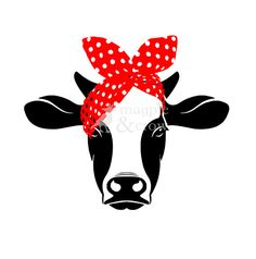 Bandana Cow SVG Rosie Riveter inspired Heifer Red Bow Cut File for Cricut/Silhouette Cricut Air, Cricut Vinyl, Vinyl Crafts, Vinyl Projects, Heifer Cow, Silhouette Cameo Projects, Kids Silhouette, Rosie The Riveter, Cricut Creations