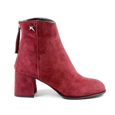 Andrew Charles By Andy Hilfiger Andrew Charles Womens Heeled Ankle Boot Bordeaux Linda Leather Heels, Calf Leather, Suede Leather, Bordeaux, Loafers Men, Calves, Zip Ups, Versace, Ankle Boots