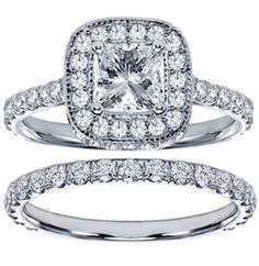 2.42 CT TW Pave Set Diamond Encrusted Princess Cut Engagement Ring Bridal Set in 14k White Gold by ohhjewelry