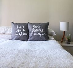 His and Hers Hello There Sunshine & Good Morning Beautiful Pillow Covers in Grey Couple Cushions Mr and Mrs
