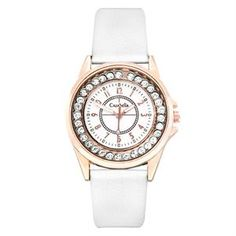 Ladies gold tone round white watch, City of Johannesburg Watch Box, Clear Crystal, Gold Watch, Costume Jewelry, Fashion Accessories, Rose Gold, Watches, Crystals, Lady