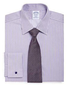 15 1/2 x 35: All-Cotton Non-Iron Regular Fit Alternating Frame Stripe Luxury French Cuff Dress Shirt Purple