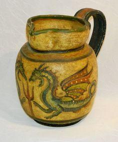Antique Majolica Sgraffito Art Pottery Pitcher,Dragons, Montopoli Italia, Signed