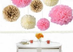 "Kubert® 18PCS Mixed 8"" 10"" 14"" Sizes Ivory Pale Pink Tan Brown Party Tissue Paper Flower Pom Poms Wedding Pompoms Garland Birthday Party Baby Room Nursery Decoration - Pom Poms Ball Blooms Tissue Paper Flowers - Celebration Party Hotel House Room Wedding Decoration - Vintage Hanging Lantern"