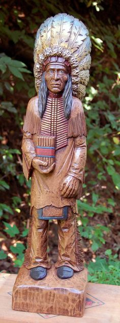 "Features: -Hand cast in ""Pecan Shell"" resin. Country of Manufacture: -Un Wood Sculpture, Sculptures, Cigar Store Indian, Cigar Shops, Cigar Art, Indian Pictures, Good Cigars, Pipes And Cigars, Sculpture"
