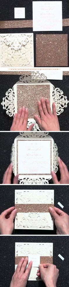 Glittery Rose Gold Foil Pressed Laser Cut Wedding Invites with Glittery Bottom Card and Belly Band EWTS038
