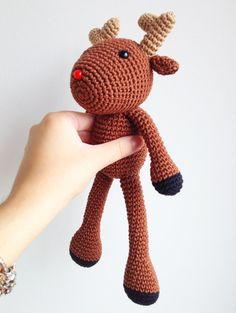 Rudolph The Reindeer, Christmas Plush, Christmas decor, Christmas gift, Christmas Crochet, Crochet Reindeer