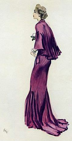 Jean Patou, evening gown's sketch by Eric (Carl Erickson) c.1936