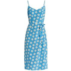 HVN Lily Falling Floral-print silk slip dress ($445) ❤ liked on Polyvore featuring dresses, blue print, pattern dress, blue print dress, sky blue dress, floral print dress and flower pattern dress
