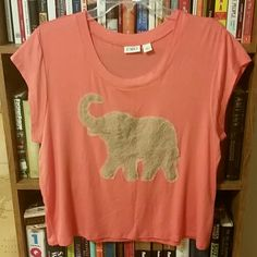Coral lace elephant Coral lace elephant top! No flaws. Size large. Great with khaki anything. Cato Tops Tees - Short Sleeve