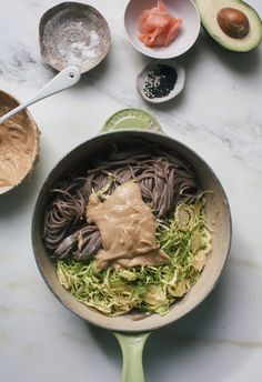 Brussels Sprouts Soba Noodle Salad with Miso-Tahini Dressing macrobiotic recipes Tahini Dressing, Macrobiotic Recipes, Whole Food Recipes, Cooking Recipes, Vegetarian Recipes, Healthy Recipes, Soba Noodles, Asian Noodles, Asian Recipes