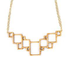 Laser cut wood necklace geometric squares