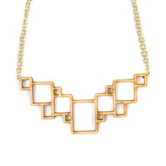 Laser cut wood necklace geometric squares