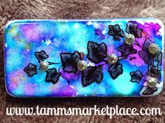 Copy of Ivy Sprig Stamped & Jeweled Domino Pin with alcohol ink background – Tamm's Marketplace