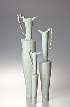 Bruce Nuske - Poison Flasks: most - less - least 2012 Hand-formed speckled with iron, painted cobalt stripes - 42 x 10 cm, x 8 cm, 26 x 7 cm Ceramic Pitcher, Ceramic Teapots, Ceramic Decor, Ceramic Clay, Ceramic Pottery, Pottery Art, Ceramic Artists, Clay Creations, Decorative Objects