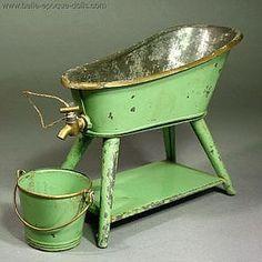 Antique Dollhouse Tin Bathroom Set.