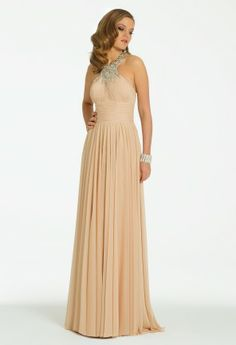 A heavenly style awaits you when you try this gorgeous long chiffon dress for your next social affair! This breathtaking cocktail dress is a multifaceted design and can be worn as a prom 2014, homecoming dress, guest of wedding dress, holiday dress, or even as a fabulous mother of the bride dress effortlessly. A heavily beaded collar neckline and beaded panel down the back is a stunning element that brings this dress to life with unstoppable shine and unmatchable shimmer. A ruched chiffon bodic…