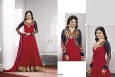 Awesome Red Anarkali Georgette Salwar Kameez366