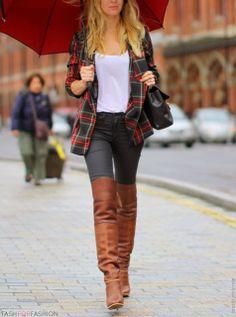 tartan shirt, white tee, black jeans. brown boots