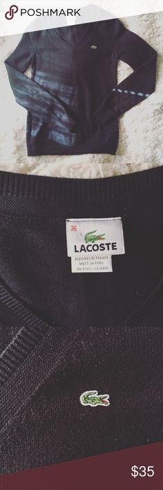 LACOSTE Black V Neck Sweater 36 This classic black Lacoste v neck sweater is a perfect staple for anyone's closet. This is one of those brands that is just really solid. Always. This says it's a size 36. I think that means small. And if it doesn't it means someone has washed/shrunk it, cause I am a M and no way this would fit me. Bundle and Save! Or, make me an offer! Happy poshing! Lacoste Sweaters V-Necks