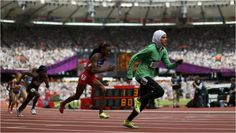 800m runner Sarah Attar makes history by becoming the first female athlete to compete in a track and field event for Saudi Arabia