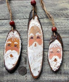 Set of 3, Santa, Christmas Ornaments/ Wood Slice Ornament/ Santa, Wood Ornament/ Original, Santa Claus/ Gift