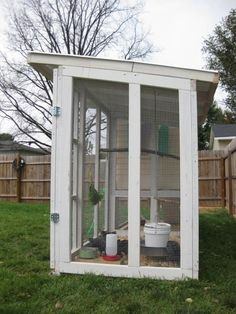 awesome upcycled playhouse into a chook pen from backyardchickens.com