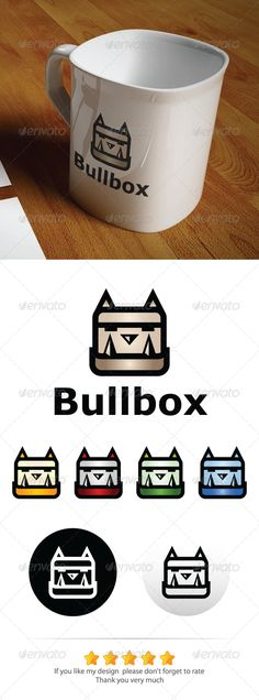 Bullbox Logo  #GraphicRiver           Texts are fully editable.   Color mode: CMYK.   300 ppi.   Available in PSD, AI & EPS formats.   Logo is 100% Editable & Re-sizable vectors.   4 color variations.   Minimal : Adobe Illustrator CS 4   Mockup image NOT included, only for preview purpose.   Font name is Verdana.   Please don't forget to rate, Thank you.
